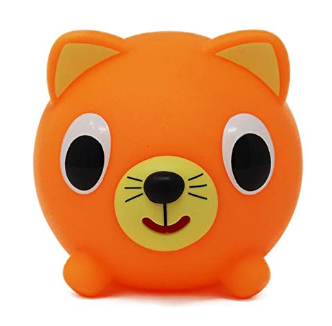 Sankyo Toys Jabber Ball Squeeze and Play Sound Ball - Neon Orange Cat