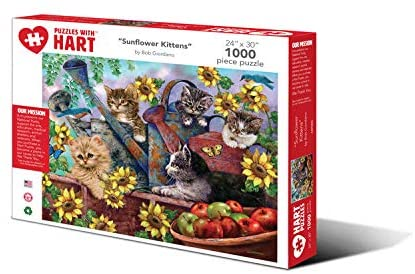 Hart Puzzles 1000 Piece Jigsaw Puzzle - Sunflower Kittens by Bob Giordano