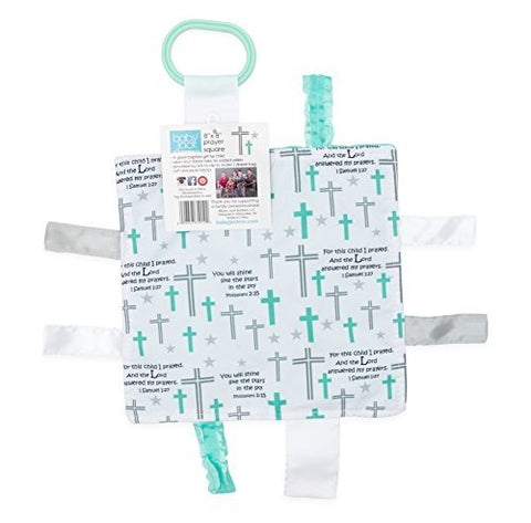 "Baby Jack Blankets Baby Sensory, Security & Teething Closed Ribbon Tag 8""x8"" Lovey Blanket with Minky Dot Fabric - Prayer (Non-Crinkle)"