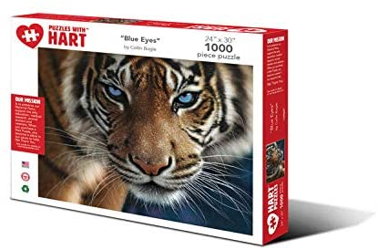"Hart Puzzles 1000 Piece Jigsaw Puzzle - ""Blue Eyes"" Tiger by Collin Bogle"