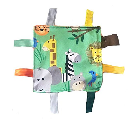 "Baby Jack Lovey Blanket 8""x8"" Crinkle Square Sensory Tag Toy - Jungle"