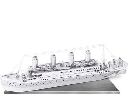 Fascinations Metal Earth 3D Laser Cut Model Silver Edition - Titanic (2 Sheets)