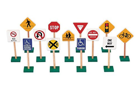 "Guidecraft 7"" Block Play Wood Traffic Signs"