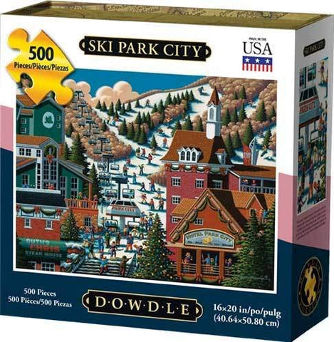 Dowdle Folk Art Ski Park City 500pc 16x20 Puzzles