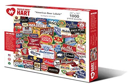 Hart Puzzles 1000 Piece Jigsaw Puzzle - American Beer Labels by Stephen M Smith