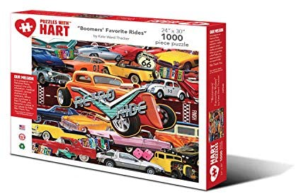 Hart Puzzles 1000 Piece Jigsaw Puzzle - Boomers' Favorite Rides by Kate Ward Thacker