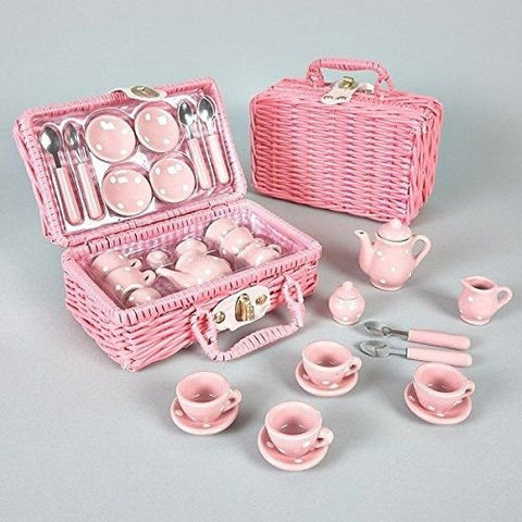 Floss & Rock Think Pink Spotty 17-Piece Ceramic Tea Set in Basket