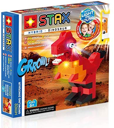 Light STAX Hybrid Light and Sound Building Bricks Toy - Growling Dinosaur