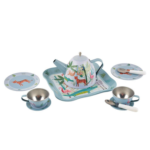 Floss & Rock 11-Piece Tin Tea Set - Jungle Zoo Animals in House Case