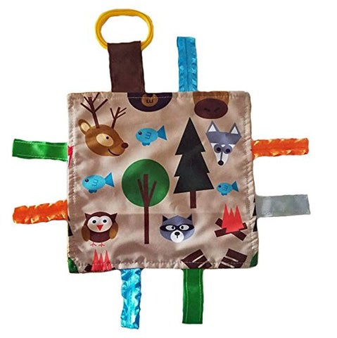 "Baby Jack Lovey Blanket 8""x8"" Crinkle Square Sensory Tag Toy - Forest"