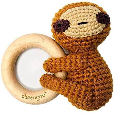 Cheengoo All Natural Baby Toy - LittleCuddler Sloth Rattle