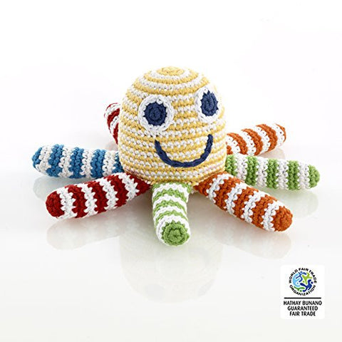 Pebble Fair Trade, Hand Made Rattle - Yellow Octopus
