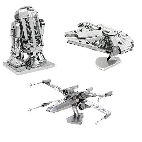 Set of 3 Star Wars Metal Earth 3D Laser Cut Models: Millennium Falcon, R2-D2, and X-Wing Starfighter