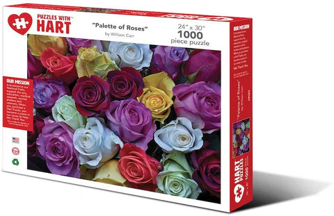 "Hart Puzzles 1000 Piece 24"" x 30"" X-Large Jigsaw Puzzle - Palette of Roses by William Carr"
