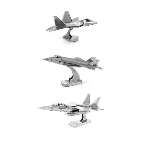 Set of 3 Metal Earth 3D Laser Cut Plane Models: F-35 Lightning, F-22 Raptor, F-15 Eagle