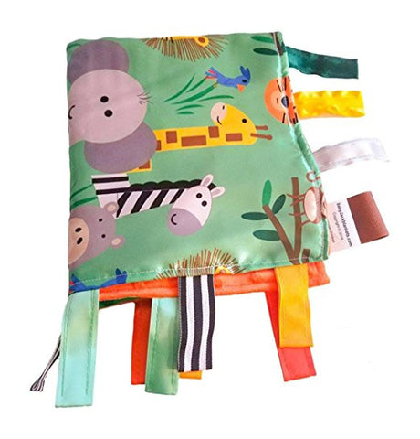 "Baby Jack Satin Sensory Baby Lovey with Ribbon Tabs - 14""x18"" Jungle Safari"