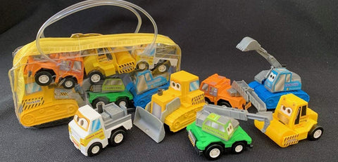 BC USA Construction Pullback Trucks in a Gift Bag - Set of 6 Pieces