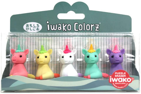 BC Mini Iwako Japanese Puzzle Eraser Set - Colorz Collection 5 Unicorns