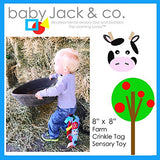 Baby Jack Lovey Square Sensory Chew Blanket Crinkle Toy with Tags - Farm