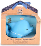Tikiri My First Ocean Buddies Natural Rubber Rattle and Bath Toy - Dolphin