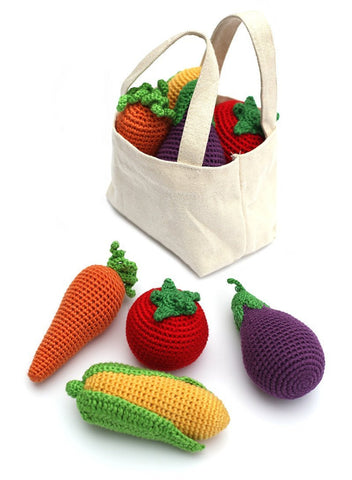 Cheengoo Hand Crocheted Organic Rattles - Set of 4 Veggies Plus Tote