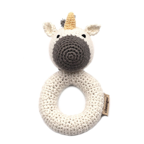 Cheengoo Organic Hand Crocheted Unicorn Ring Rattle