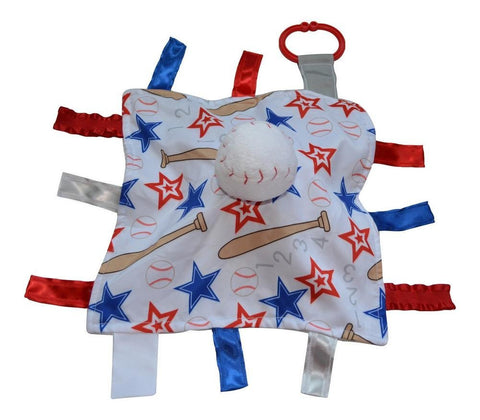 "Baby Jack Satin Sensory 10""x10"" Baby Lovey with Ribbon Tabs - Baseball"