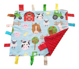 "Baby Jack Lovey Security Baby Blanket 14"" x 18"" Sensory Tag Toy - Educational Farm Animals"