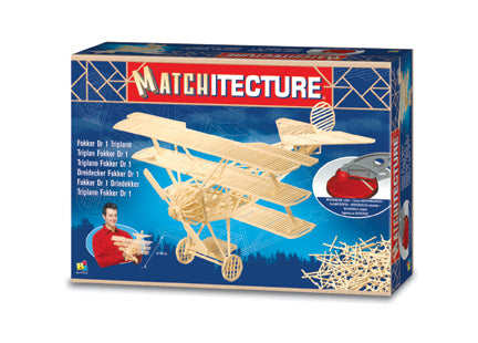 Bojeux Matchitecture Wood Microbeam Model Construction Set - Fokker Dr 1 Triplane