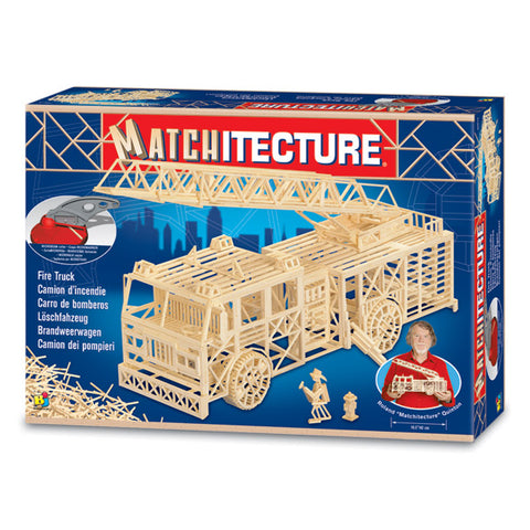 Bojeux Matchitecture Wood Microbeam Model Construction Set - Fire Truck