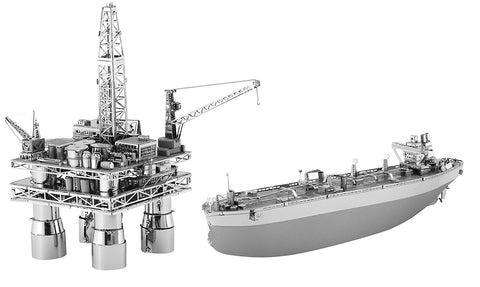 Metal Earth Off Shore Oil Rig & Oil Tanker Gift Box Set 3D Metal Model Kit