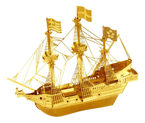 Metal Earth 3D Laser Cut Model Gold Edition - Golden Hind Ship (2 Sheets)
