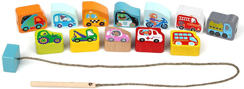 Wise Elk Wooden Toy Lacing Beads - Flying Cars and Trucks