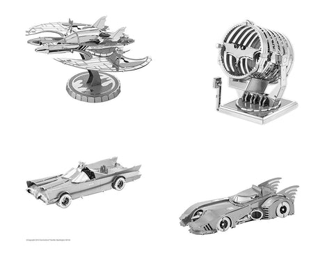 Metal Earth 3D Metal Model Kits - Batman - Set of 4 - 1989 Batmobile + 1966 Classic TV Series Batmobile + 1989 Batwing + Bat-Signal
