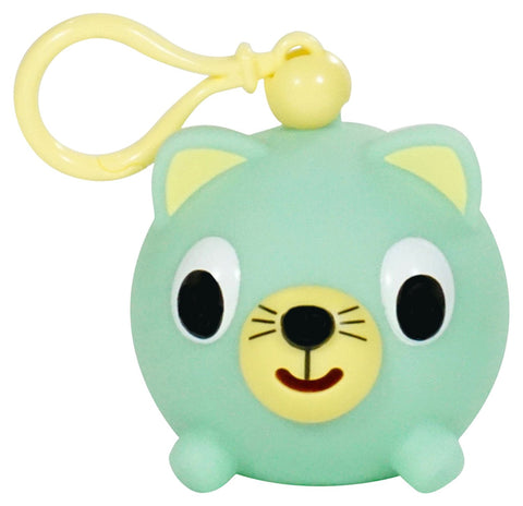 Sankyo Toys Jabber Ball Squeeze and Sound Play Ball Key Chain Clip - Green Cat Jr.