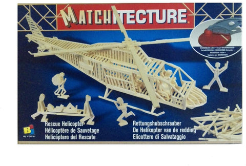 Bojeux Matchitecture Wood Microbeam Model Construction Set - Rescue Helicopter