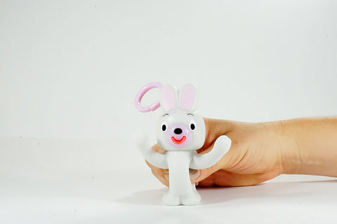 Sankyo Toys Jabb-A-Boo Squeeze and Sound Play Peek-A-Boo Keychain Toy - White Bunny