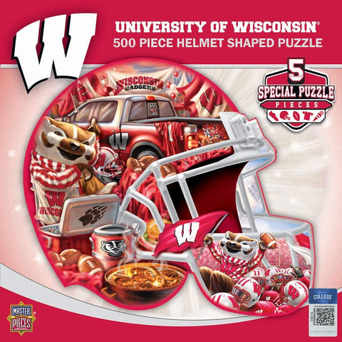 MasterPieces University of Wisconsin 500p Piece Helmet Shaped Jigsaw Puzzle