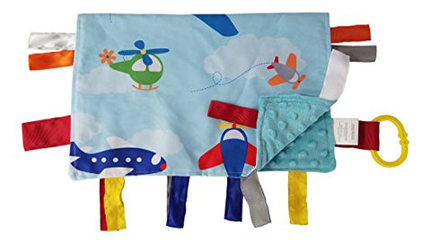 "Baby Jack Lovey 14""x18"" Security Baby Blanket Sensory Tag Toy Learning Lovey - Airplanes"