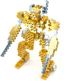 Metomics 3-in-1 Metal Designer Building Blocks Series 001 | 290 Pieces | Assemble T-Rex, Mecha and Sparrow with Instructions (Aztec Gold)