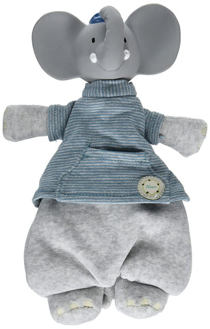 Tikiri Meiya & Alvin Collection Baby Toy - Alvin the Elephant Soft Toy with Rubber Head