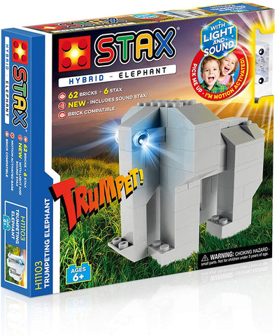 Light STAX Hybrid Light and Sound Building Bricks Toy - Trumpeting Elephant