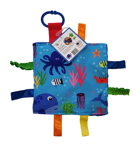 Baby Jack Lovey Square Sensory Chew Blanket Crinkle Toy with Tags - Ocean