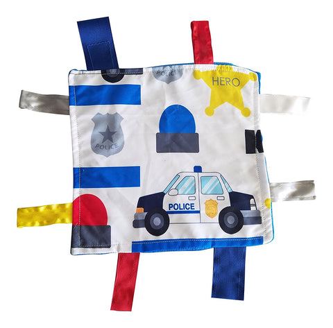 "Baby Jack Lovey Blanket 8""x8"" Crinkle Square Sensory Tag Toy - Police"