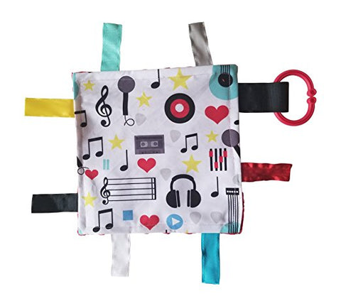 Baby Jack Lovey Chew Blanket Crinkle Toy Tag Square Sensory - Music