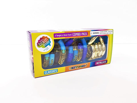 Tangle Jr. Brain Tools Combo Pack of 3 ~ Classic, Textured, Metallics (Colors Vary)