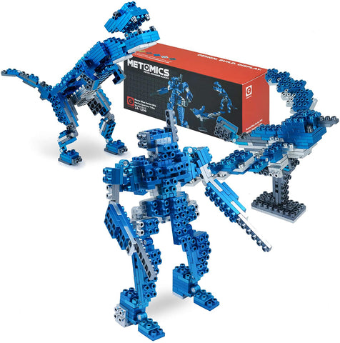 Metomics 3-in-1 Metal Designer Building Blocks Series 001 | 290 Pieces | Assemble T-Rex, Mecha and Sparrow with Instructions (Azure Blue)