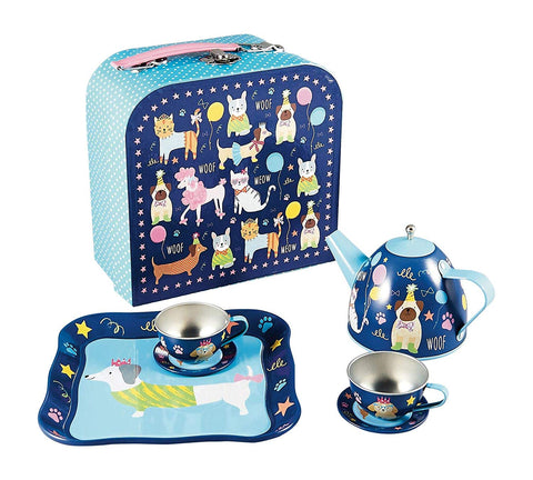 Floss & Rock 7-Piece Play Tin Tea Set - Pets Party