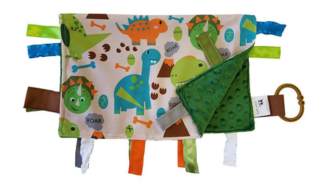 Baby Jack Educational Learning Lovey Ribbon Tag 14x18 Security Blanket - Dinosaurs