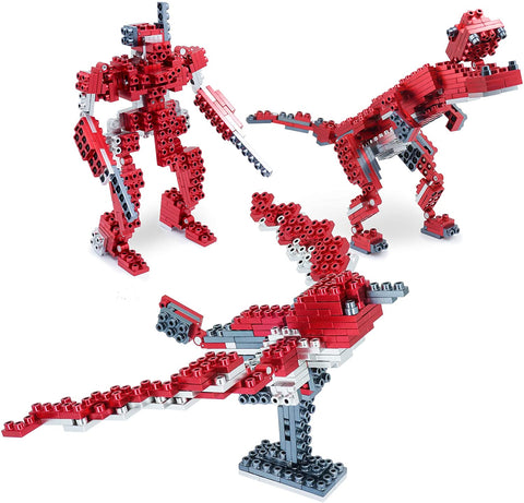 Metomics 3-in-1 Metal Designer Building Blocks Series 001 | 290 Pieces | Assemble T-Rex, Mecha and Sparrow with Instructions (Ruby Red)